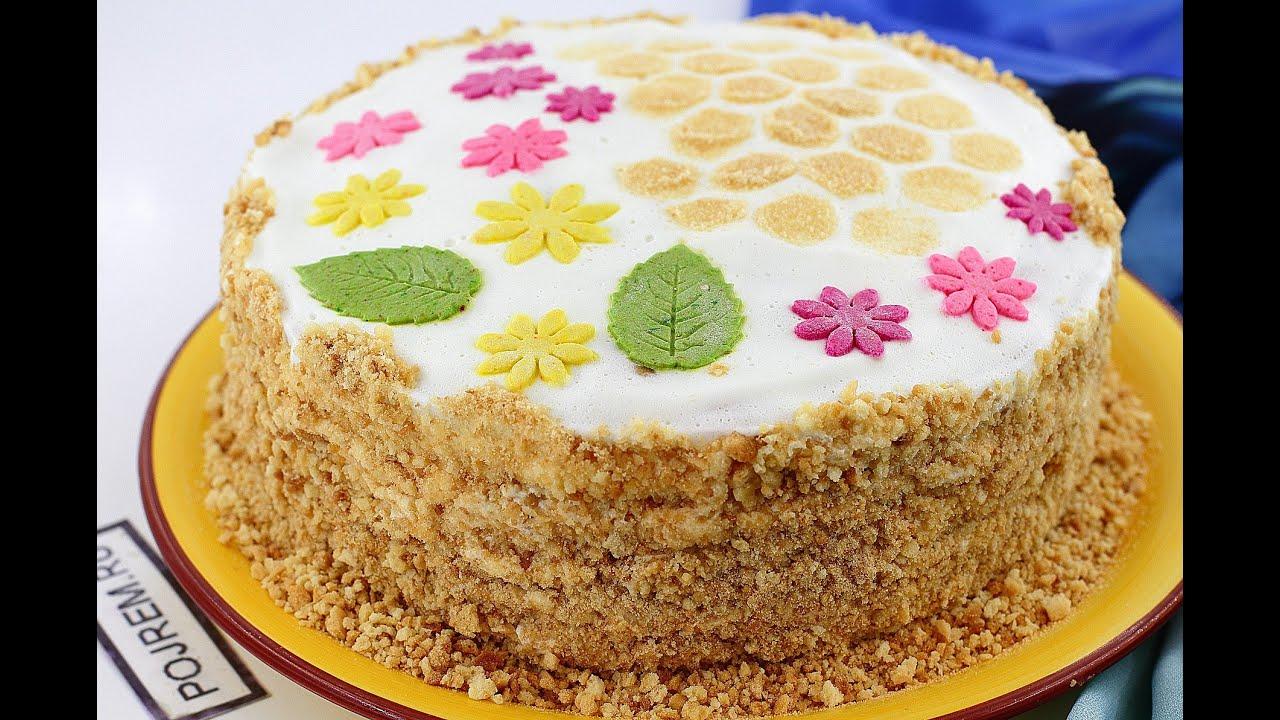 Рецепт торта Медовик со сметанным кремом - YouTube