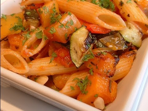 Recipe with penne pasta and roasted vegetables