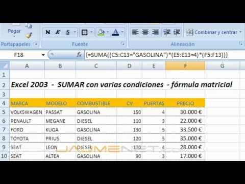 Excel 2003 - SUMAR con varias condiciones