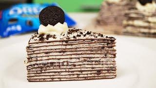 Простой шоколадный торт с Орео из блинчиков без выпечки | Oreo crepe cake