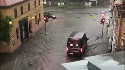 Unwetter mit Starkregen wütet über Halle