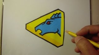 HOW TO DRAW POWER RANGER DINO CHARGE BLUE - LOGO