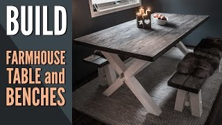 In this video I make a wooden farmhouse table and two benches. The design is a classic cross legged table and benches with