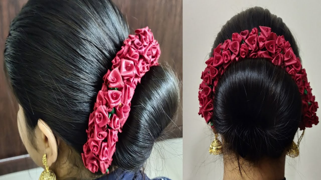 simple bun hairstyle in 2 mins with hair accessories|indian wedding hairstyle