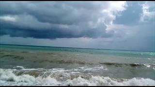 Шторм.Крым.Судак.Тучи.Солнце.Радуга.Ветер.Волны.Ливень. Красиво и страшно или страшно красиво!!!