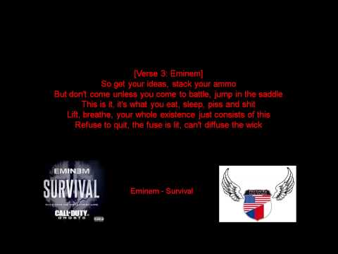 Eminem - Survival (Lyrics) from YouTube · Duration:  4 minutes 34 seconds