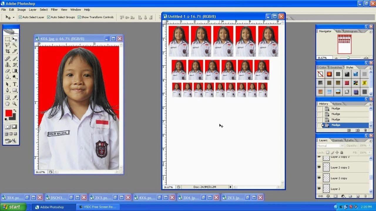Cara membuat Pas photo 2x3, 3x4 & 4x6 dengan Photoshop & Cetak ...