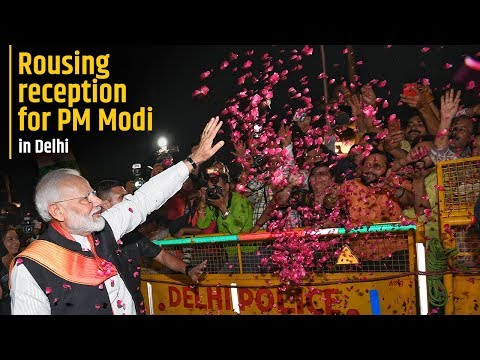 Rousing reception for PM Modi in Delhi