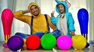 Aprender colores con fútbol bolas - juega al fútbol junto con Nastya