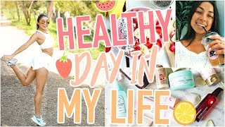 HEALTHY Day In My Life - What I Eat, Full Workout, Skincare Routine, & Makeup Hacks, & More!!
