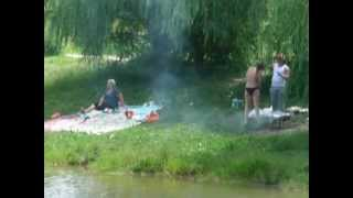 Люди жарят шашлык на Бабаевском пруду. Москва