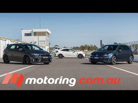 Ford Focus RS v Honda Civic Type R v Volkswagen Golf GTI | motoring.com.au - Dauer: 9 Minuten, 16 Sekunden