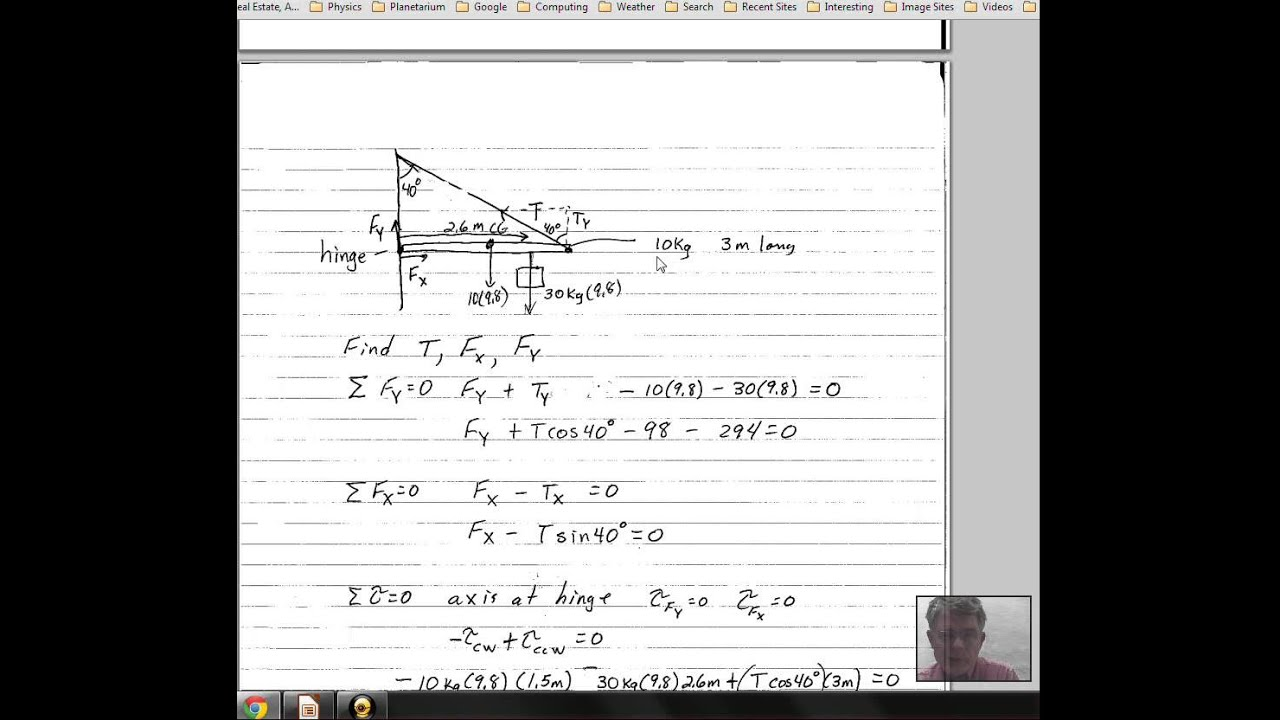 static equilibrium problem  beam attached to wall