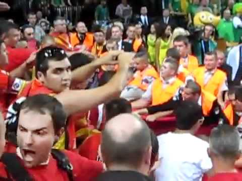 EuroBasket 2011- Lithuanian Security and Police attacking Macedonian Fans1