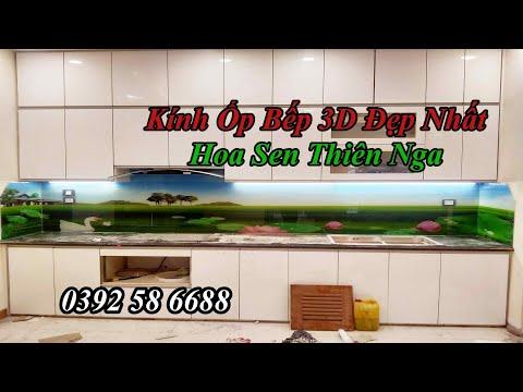 Kính ốp bếp - Kính ốp bếp 3D Đẹp Nhất Hoa Sen Thiên Nga| Kính bếp| Kính ốp bếp 3D| TRanh Kinh Cường Lực