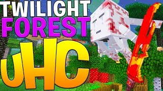 TWILIGHT FOREST MINECRAFT MODDED UHC - OVERPOWERED WEAPONS AND ARMOR MOD MINIGAME