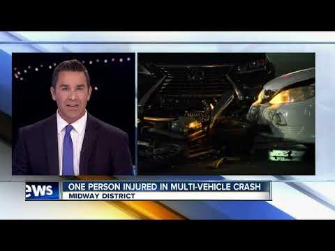 Motorcyclist breaks leg after multi-vehicle crash