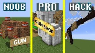 Noob vs Pro vs Hacker : GUN SHOP Minecraft Battle