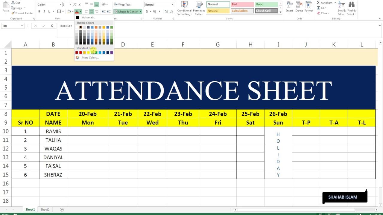 excel basic sheet 3 attendance sheet youtube