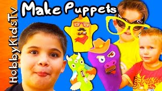 Best Biggest Littlest Puppet Show! Puppet Kit Surprise + Monkey Diy Hobbykidstv