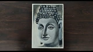 Lord Buddha | Black-and-White Acrylic Painting
