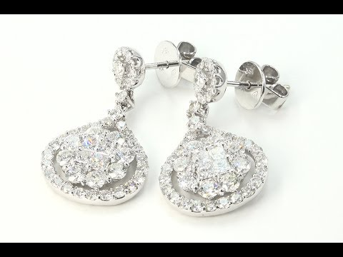Certified White Diamond Dangle Cocktail Earrings VS1-SI2 F-G