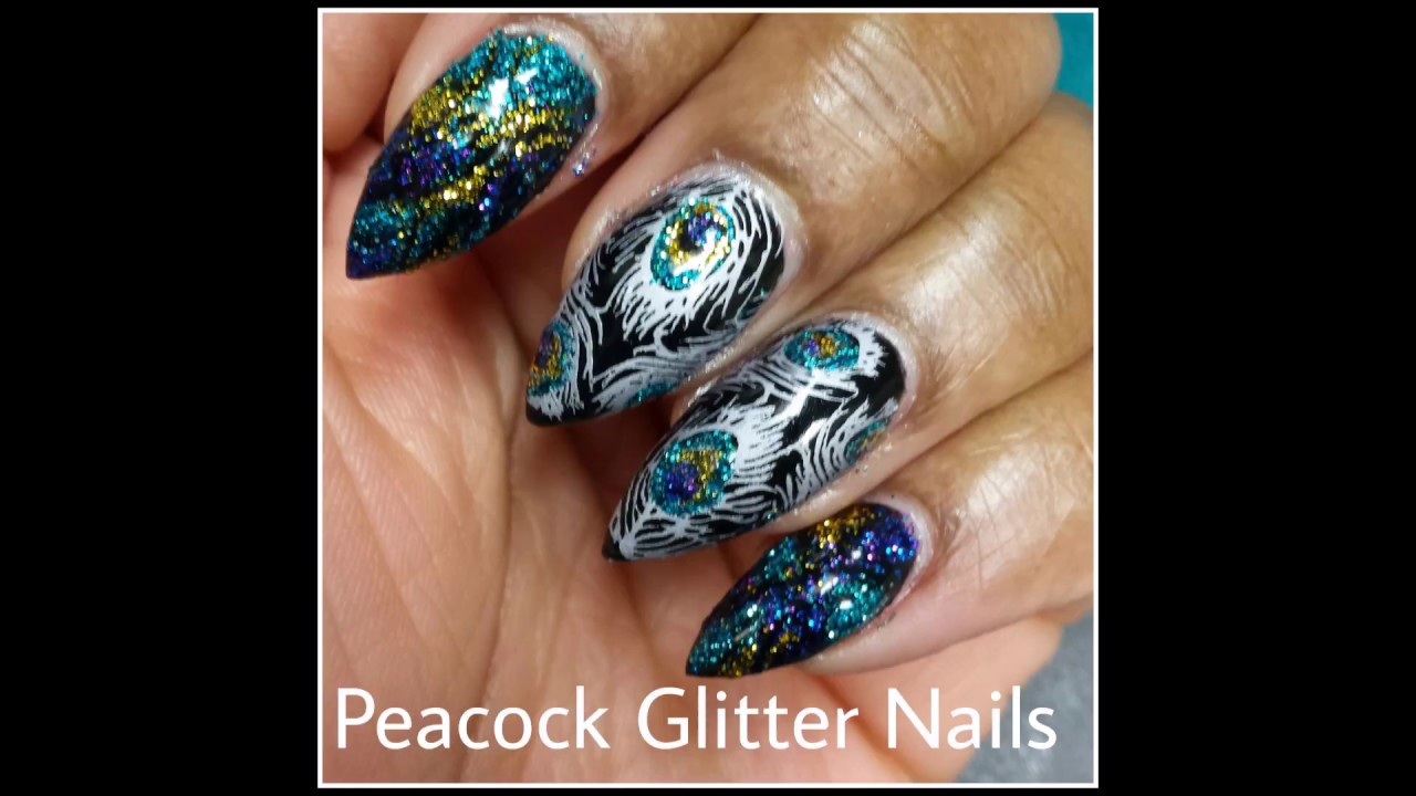 Glitter Nails Peacock Feather Stamping Nail Art Youtube