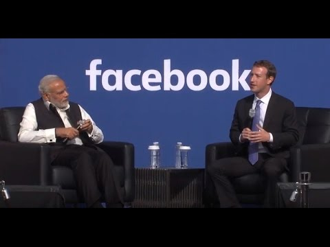 PM Narendra Modi at Facebook Townhall with Mark Zuckerberg |