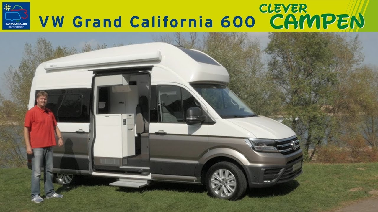 vw grand california 600 erste sitzprobe review caravan salon d sseldorf 2018 clever campen. Black Bedroom Furniture Sets. Home Design Ideas