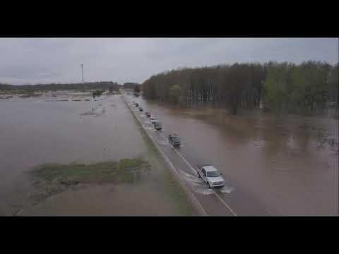 Flooding on U.S. Highway 23 near Au Gres, Michigan May 19, 2020
