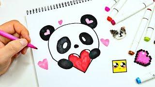 МИЛАЯ ПАНДА ! Идея для ЛД ! HOW TO DRAW A CUTE PANDA ! ПРОСТЫЕ РИСУНКИ ! Как нарисовать sketchbook