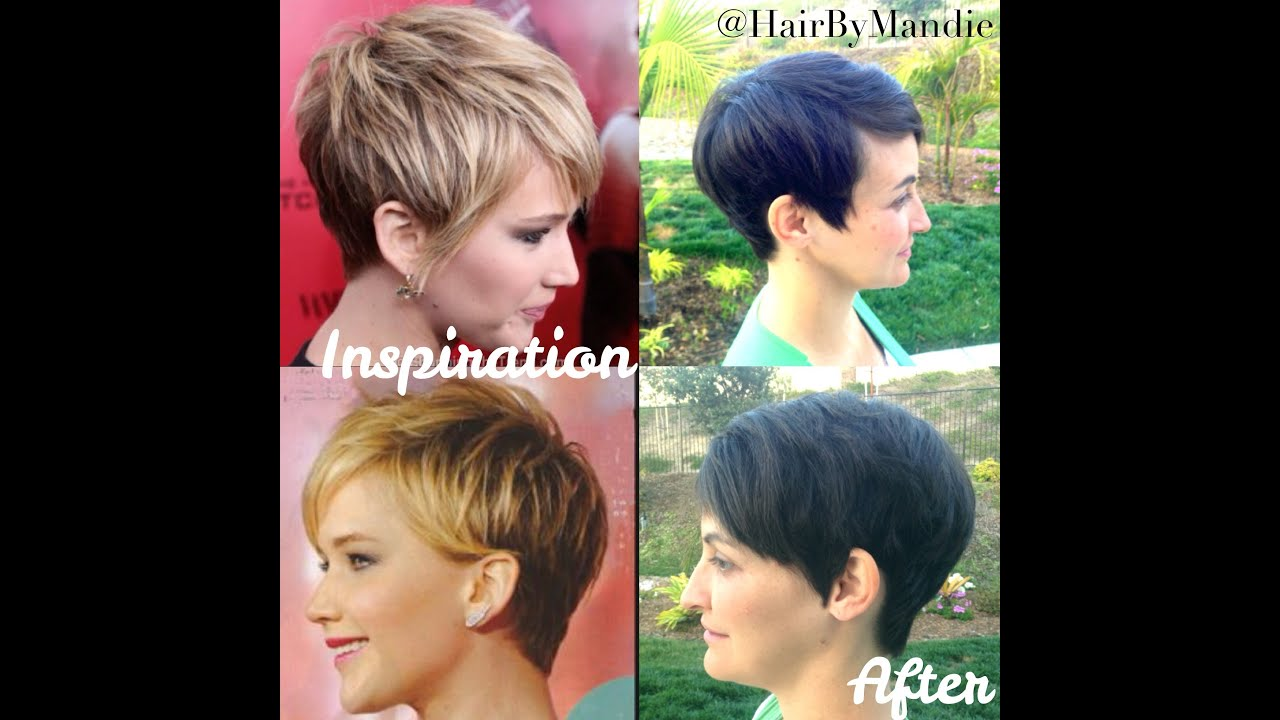 Jennifer Lawrence Haircut Tutorial | Short Pixie | Really Cute - YouTube