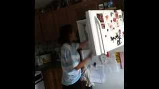 Vine trying to put things in the freezer. Lol