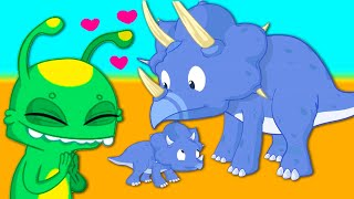 Baby dinosaur is lost! - Groovy The Martian transform into a pacifier educational cartoon for kids