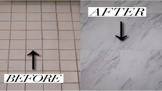 DIY PEEL AND STICK MARBLE FLOOR | VINYL FLOOR TILE | BATHROOM DECOR