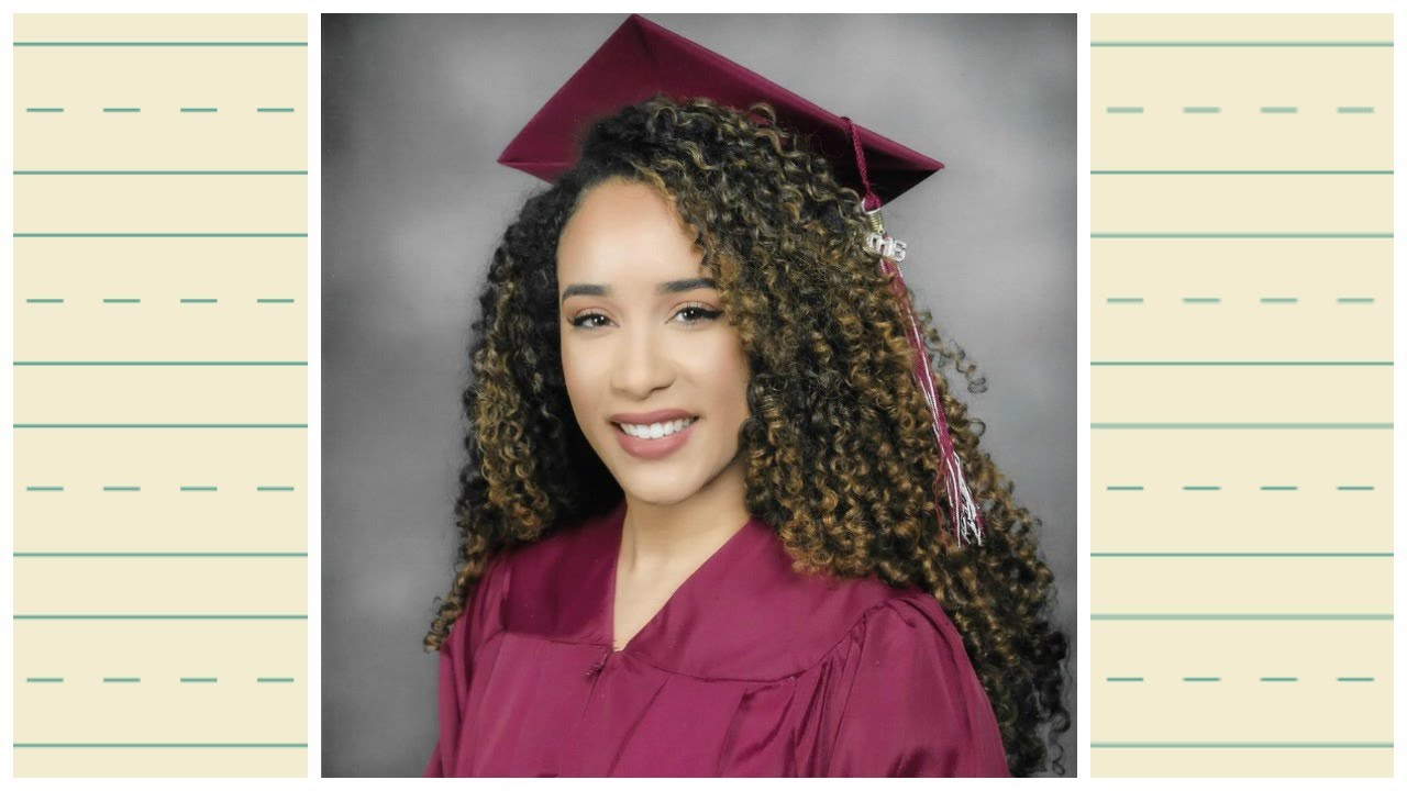 how to put on a graduation cap with curly hair!
