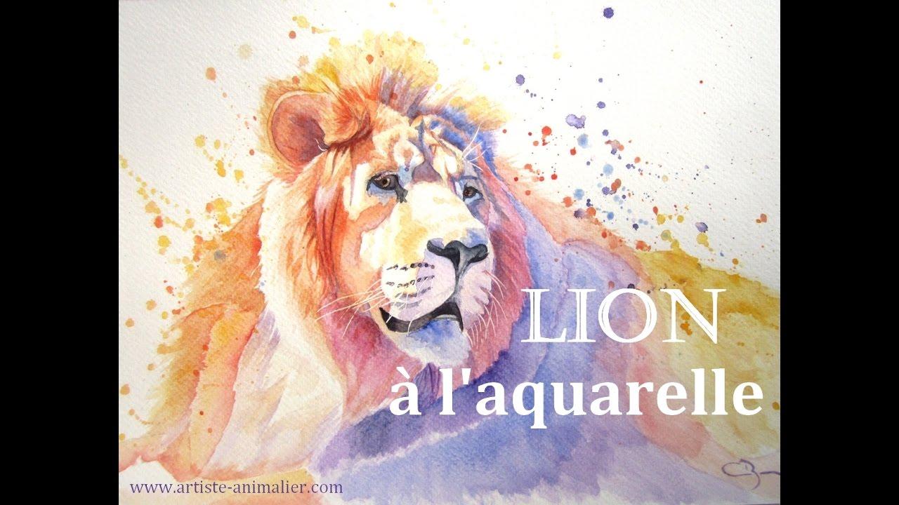 Image Aquarelle lion à l'aquarelle [speed painting coloré] - youtube