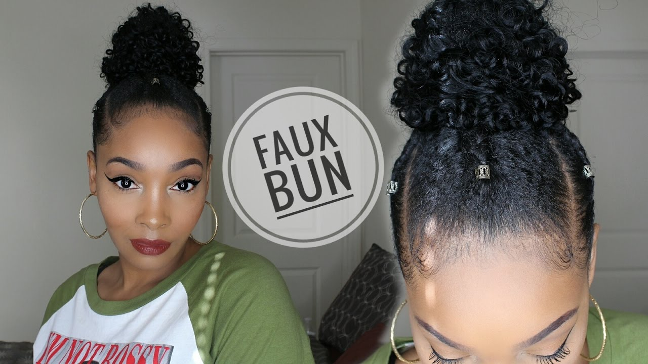 Curly Faux Top Knot Bun On Short Natural Hair �� Youtube