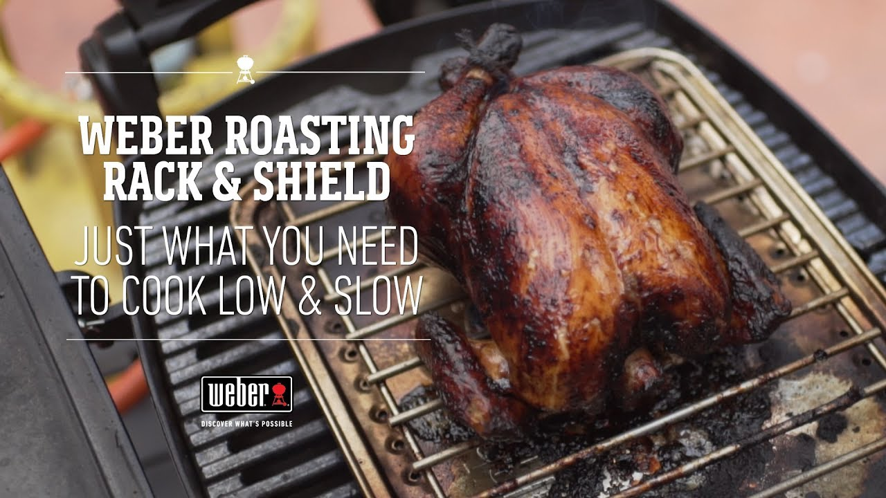 Weber Roasting Rack And Shield Indirect Cooking On A Weber Q Youtube