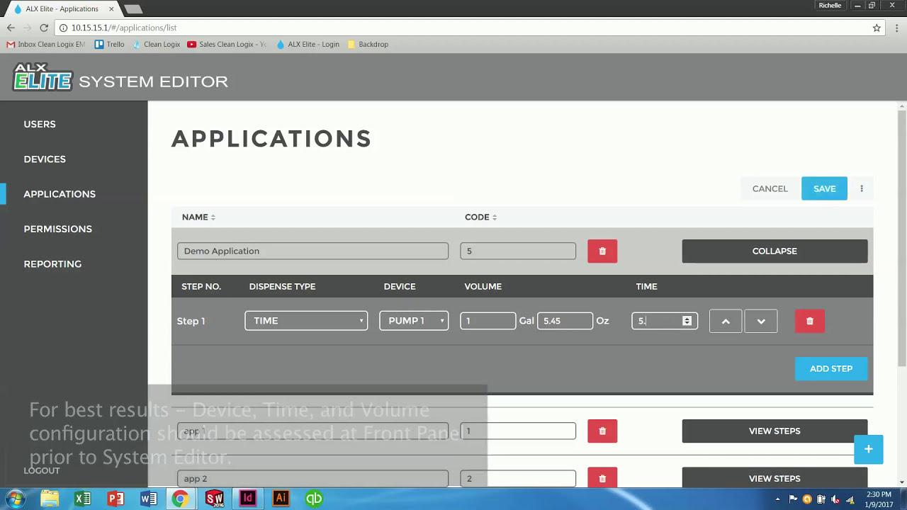 ALX-ELITE System Editor - Chemical Application Recipes