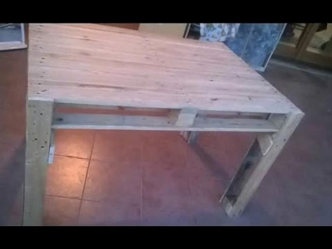COSTRUIRE UN TAVOLO CON I PALLETS - Table made from pallets - YouTube