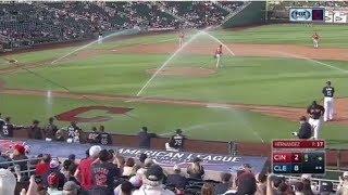 MLB Sprinklers Turn On During Game (HD)