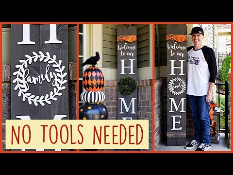 """No Tools DIY Front Porch Welcome HOME Sign with Changeable """"O"""""""