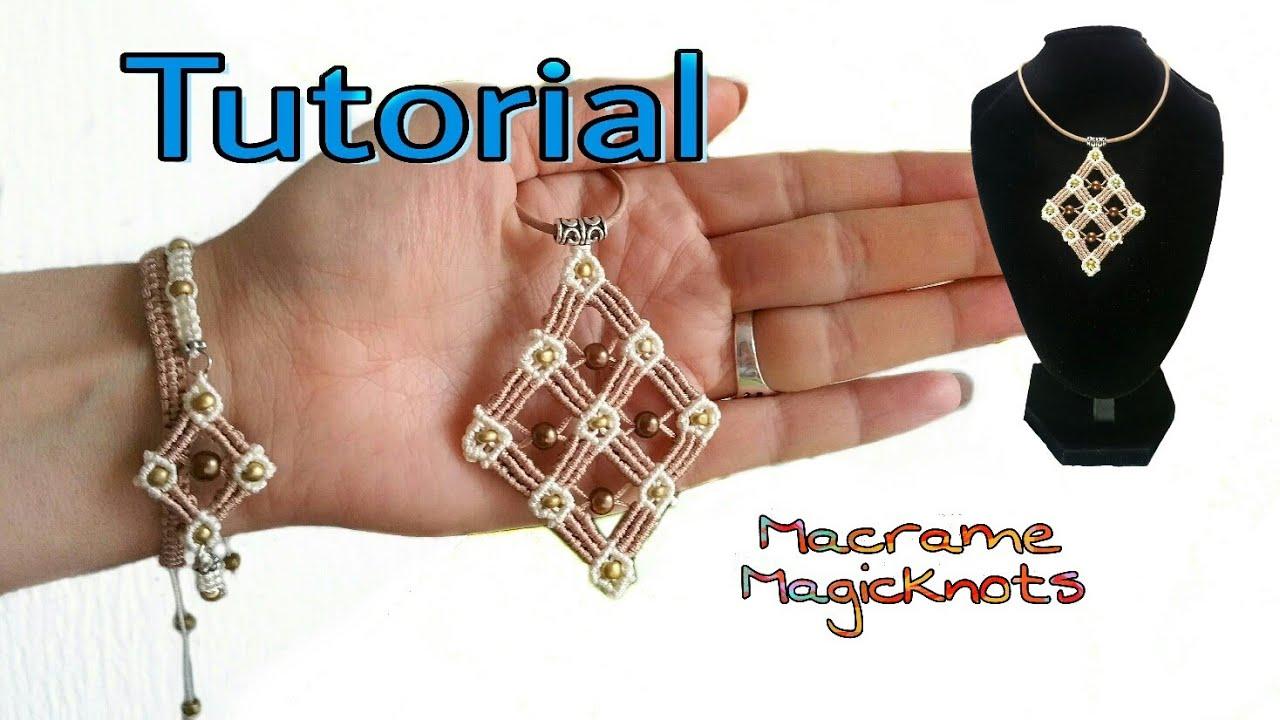 a78b6cf1be76 Micro Macrame Big Square Pendant Tutorial ♥ Macrame Magic Knots ♥ DIY