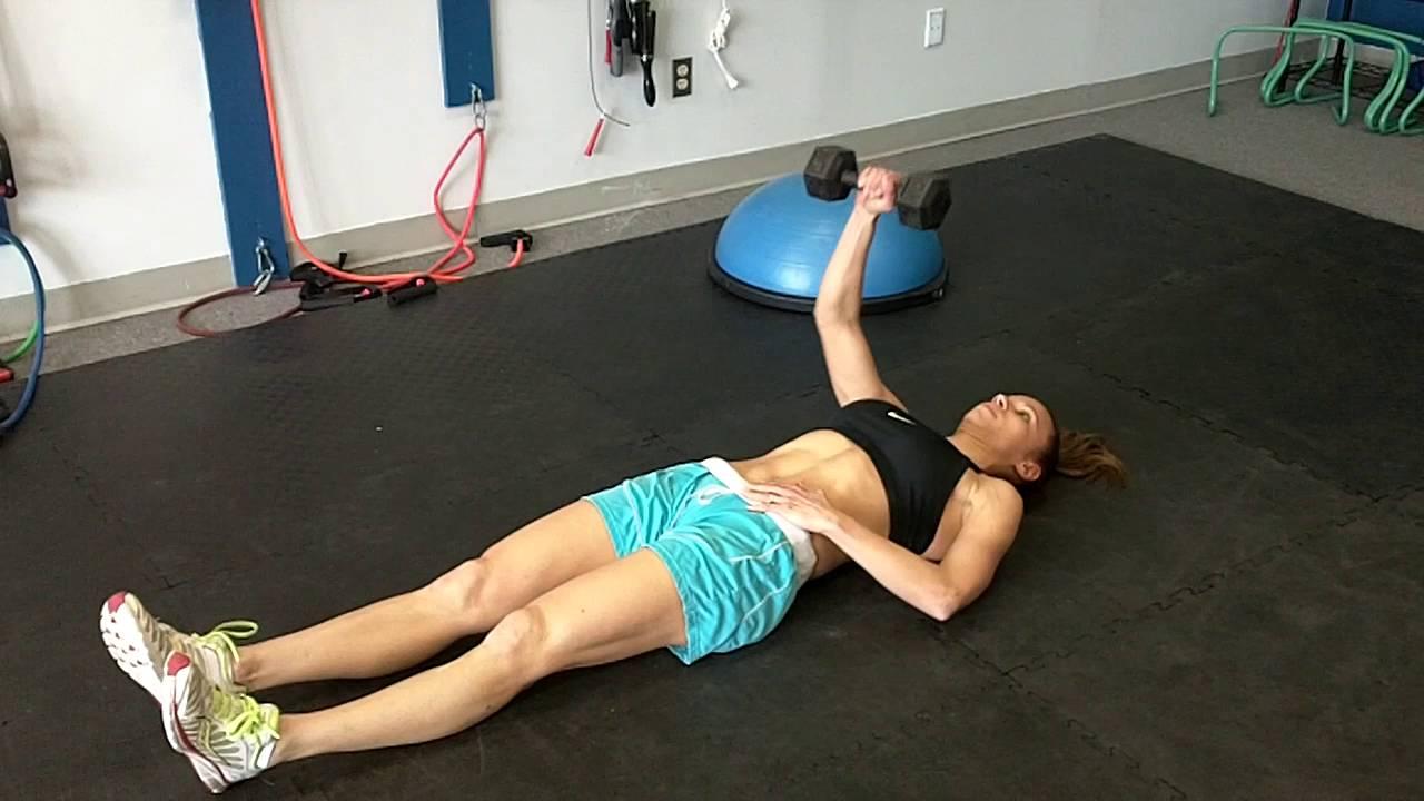 Single Arm Dumbbell Chest Press From Floor Youtube