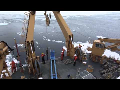 Piston Core sampling aboard USCGC Healy, Canada Basin