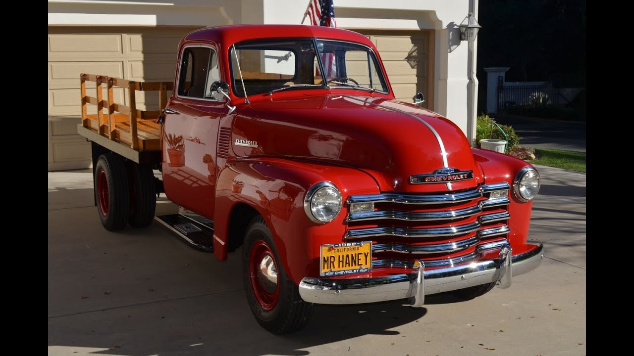 SOLD: Restored 1952 5-Window Chevy (Mr. Haney) Flatbed, CA - YouTube
