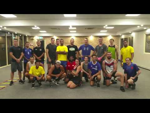 Boxing fitness class/ blue cattle dog boxing
