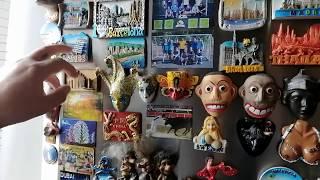 Наши сувениры, магнитики, тарелочки и маски ,привезённые из разных стран мира и городов мира!