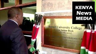 President Uhuru Kenyatta  OFFICIAL OPENS new Bomet University College Green Tuition Block!!!
